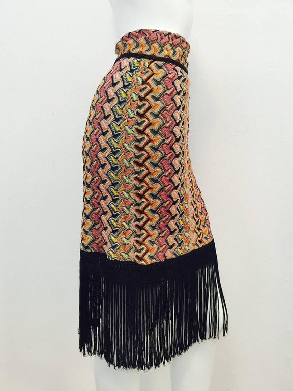 Women's Missoni Multi Color Knit Straight Skirt With Tie and Dramatic Fringe Hem For Sale