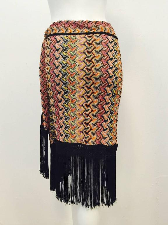 Missoni Multi Color Knit Straight Skirt With Tie and Dramatic Fringe Hem In Excellent Condition For Sale In Palm Beach, FL