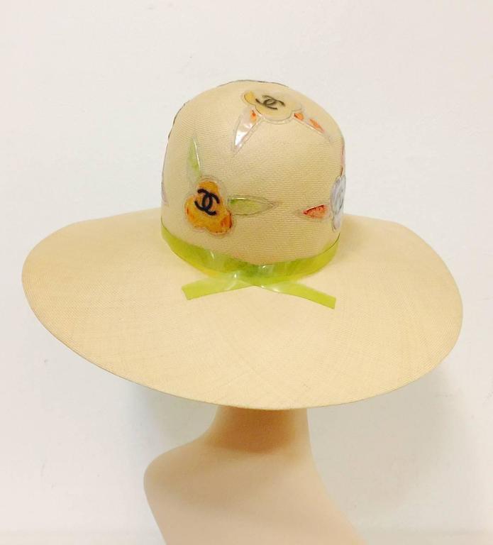 Rare Chanel Wide Brim Camellia Hat 3