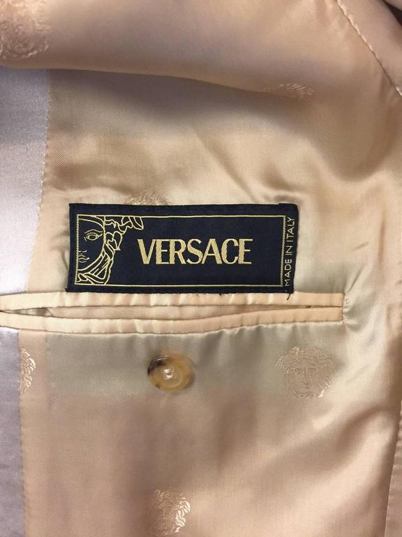 Men's Versace Champagne Cotton Wool & Silk Blend Dinner Jacket w Shawl Collar  For Sale 3