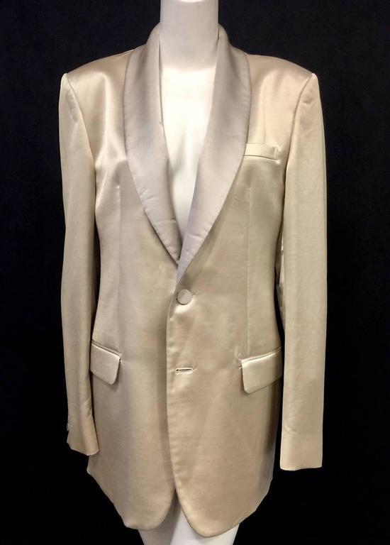 Men's Versace Champagne Cotton Wool & Silk Blend Dinner Jacket w Shawl Collar  For Sale 2