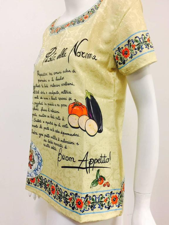 Dolce & Gabbana Pasta alla Norma Recipe Brocade Short Sleeve Tee Shirt  In New never worn Condition For Sale In Palm Beach, FL