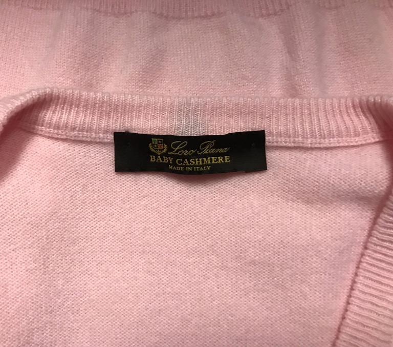 Orange Men's Loro Piana Baby Cashmere V Neck Sweater in Soft Pink