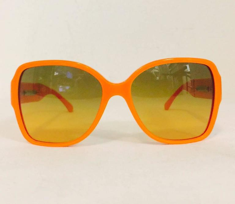 Chanel Orange Large Frame Sunglasses With Gold Tone Accents  3