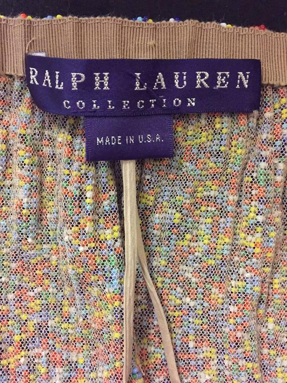 Women's Ralph Lauren Purple Label Collection Multi Color Beaded Skirt With Long Fringe For Sale