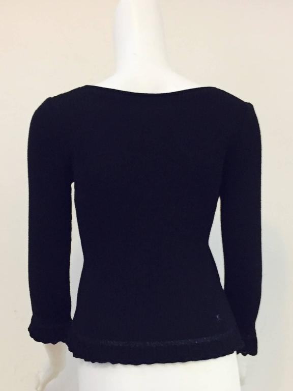 Chanel Black Cashmere  Pullover With Deep V Back And Ruffled Hem 4