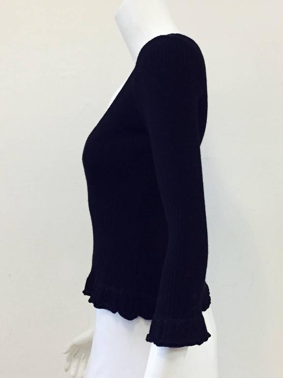 Chanel Black Cashmere  Pullover With Deep V Back And Ruffled Hem 5
