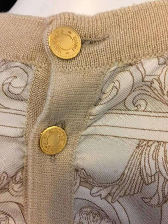 Hermès Tan Silk Hermès on Pegasus Print Sleeveless Top With Banded Trim  For Sale 1