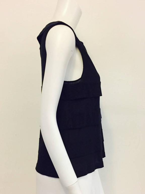 Chanel 2006 Black Sleeveless A-Line Top W Bateau Neckline and Sheer Panels 2