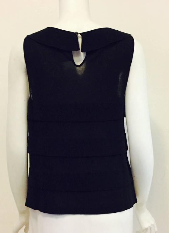 Chanel 2006 Black Sleeveless A-Line Top W Bateau Neckline and Sheer Panels 3