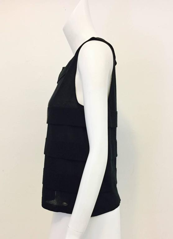 Chanel 2006 Black Sleeveless A-Line Top W Bateau Neckline and Sheer Panels 4