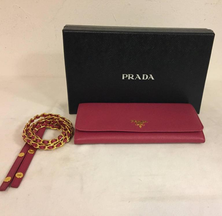 ... hot prada fuchsia saffiano chain crossbody wallet for sale 4 559c4 23061 e753470f1761d