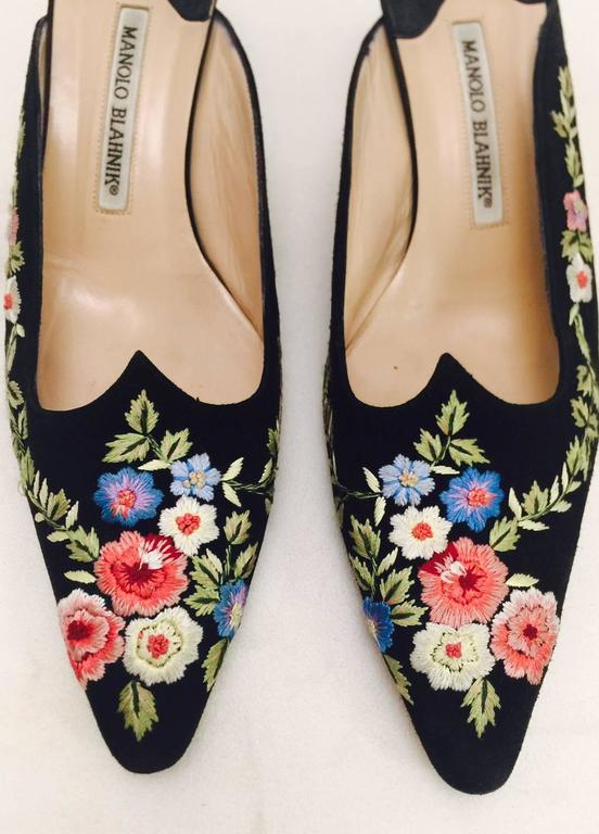 Manolo Blahnik Floral Embroidered Black Suede Mule 3