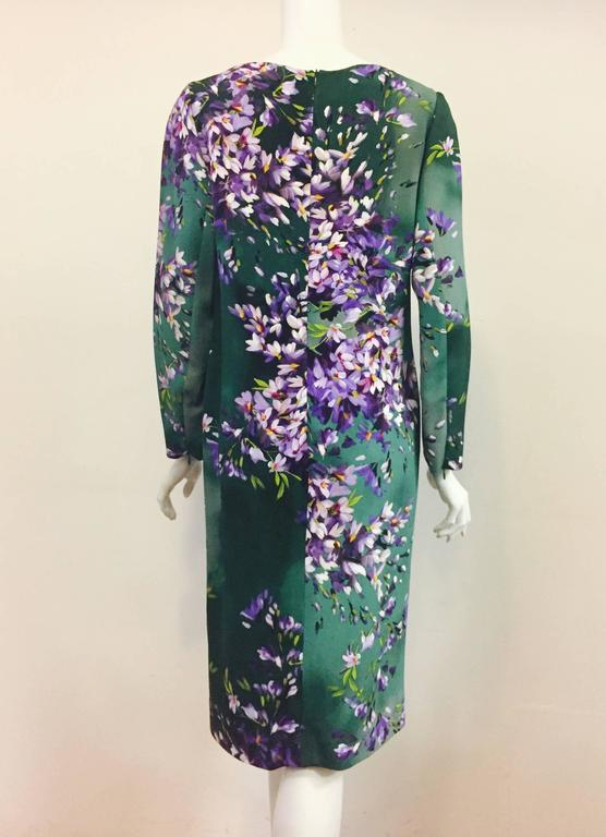 Exquisite Escada Green Floral Print Dress For Sale At 1stdibs