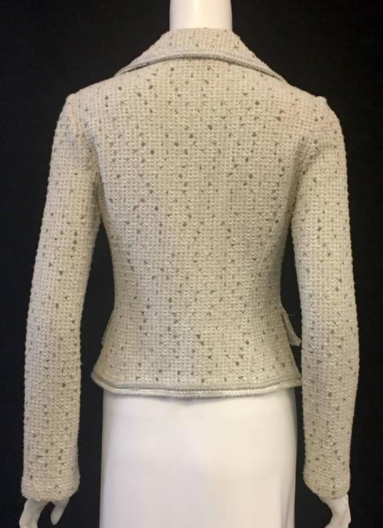Current St John Couture Jacket Ivory With Black And Gold