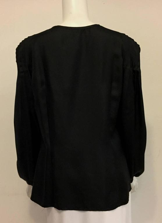 Elegant and Romantic Escada Black Silk Poetess Blouse  In Excellent Condition For Sale In Palm Beach, FL