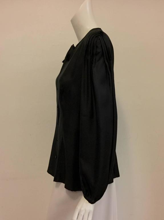 Women's Elegant and Romantic Escada Black Silk Poetess Blouse  For Sale