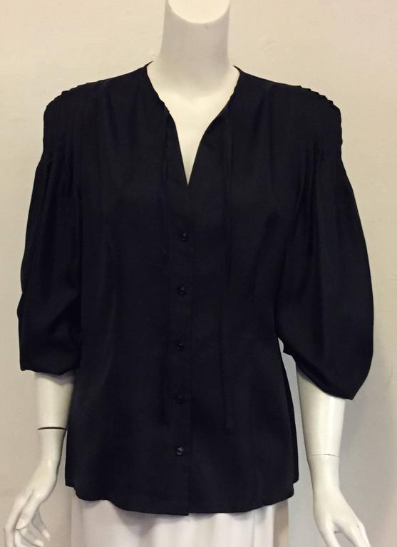 Elegant and Romantic Escada Black Silk Poetess Blouse  For Sale 1