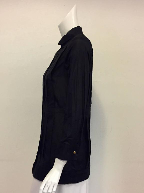 Classy Chanel Front Pleated Blouse with Round Collar in Black Silk  4