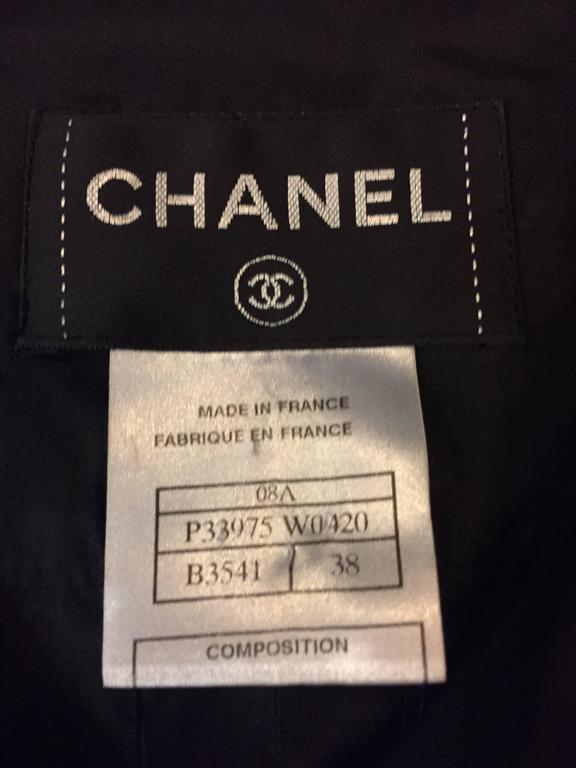 Classy Chanel Front Pleated Blouse with Round Collar in Black Silk  7