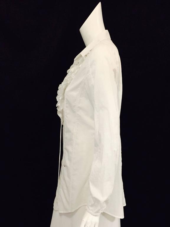 Romantic Roberto Cavalli's Frilly Blouse in Pure White with Ruffles and Lace   4