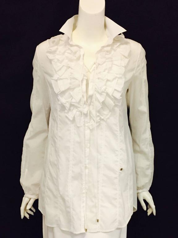 Romantic Roberto Cavalli's Frilly Blouse in Pure White with Ruffles and Lace   5