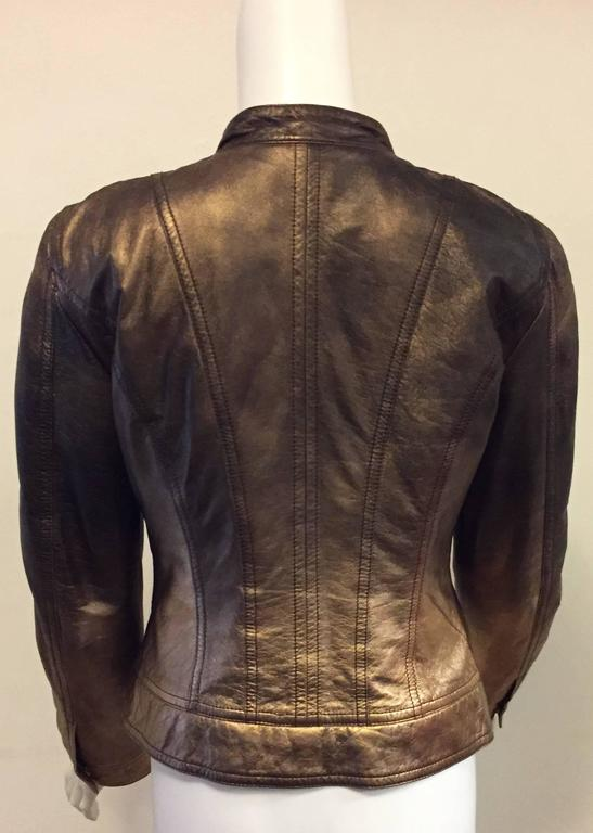 Black Remarkable Roberto Cavalli's Bomber Leather Jacket in Bronze Metal Color For Sale