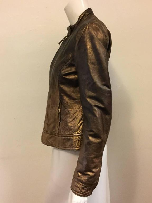 Remarkable Roberto Cavalli's Bomber Leather Jacket in Bronze Metal Color In Excellent Condition For Sale In Palm Beach, FL