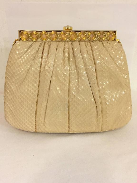 Brown Stylish Judith Leiber Snakeskin Cream Colored Cross body  For Sale