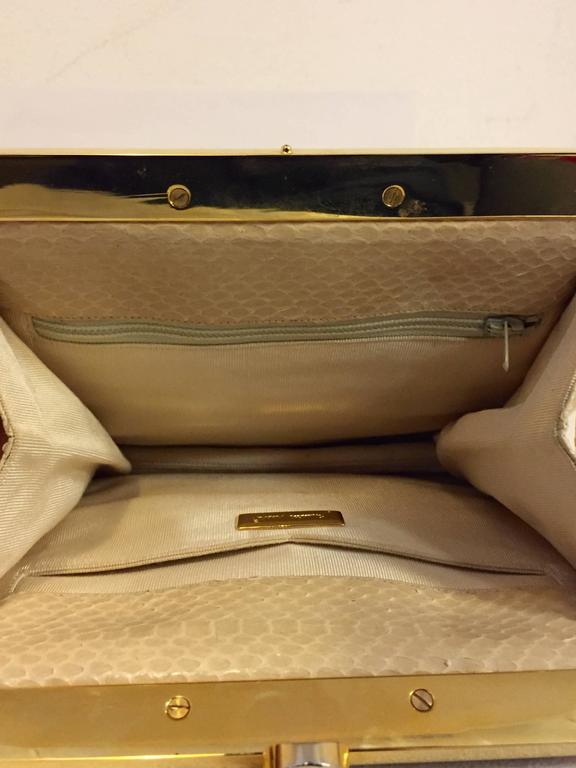 Stylish Judith Leiber Snakeskin Cream Colored Cross body  For Sale 2