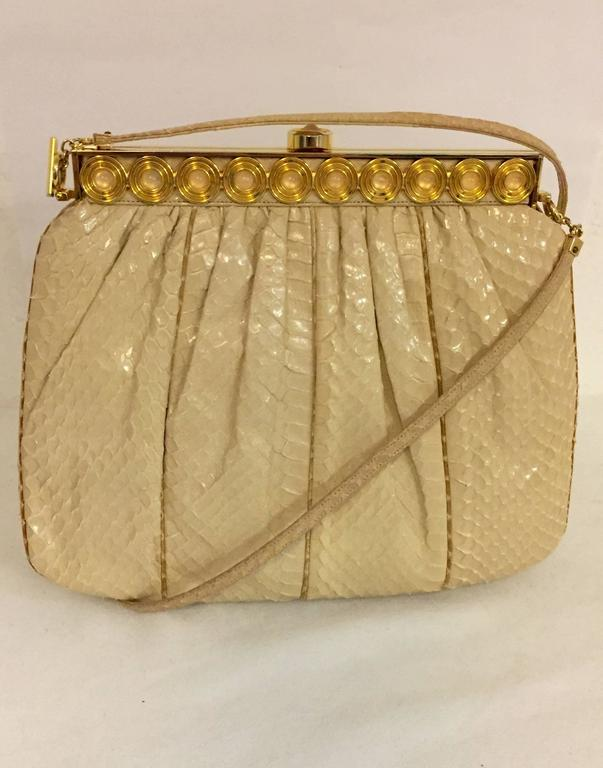Stylish Judith Leiber Snakeskin Cream Colored Cross body  For Sale 1