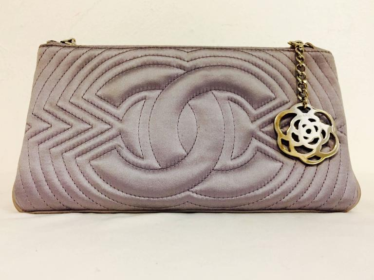 Gray Chanel Small Satin Lavender Clutch with Metal Charm For Sale
