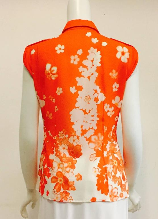 Vibrant versace orange top with white and orange flowers for sale at vibrant versace orange top with white and orange flowers in excellent condition for sale in palm mightylinksfo