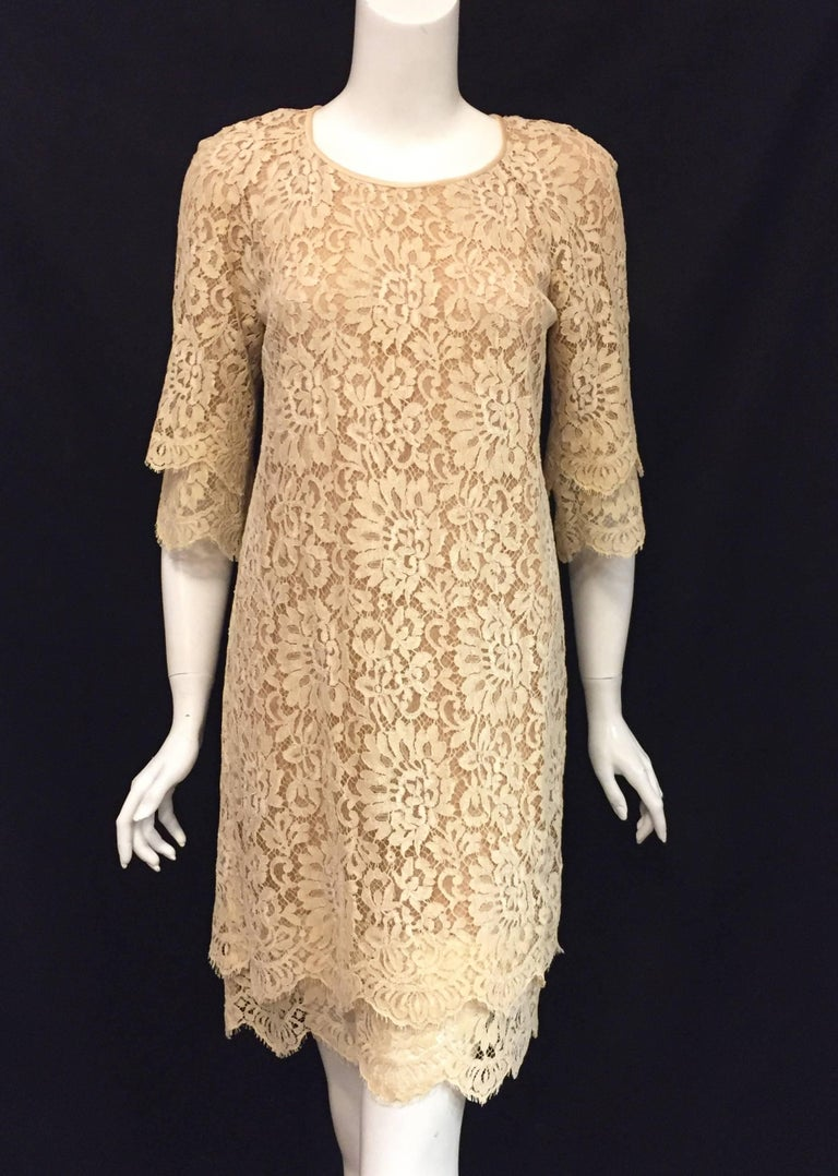 Women's Modern Michael Kors Beige Lace Dress With Double Layer Cuffs and Hem For Sale