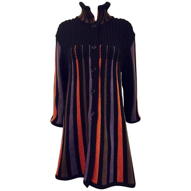Exquisite Etro Multi Color Striped Knit Swing Coat