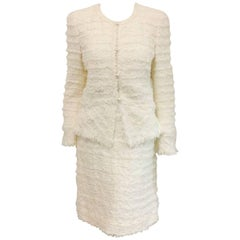 Cherished Chanel Fantasy Tweed Boucle Winter White Suit