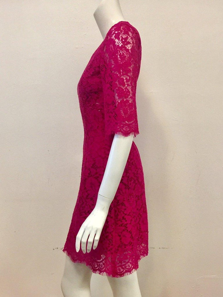 Dolce & Gabbana Rose Pink Lace Dress With Full Satin & Lace Slip 38 EU In Excellent Condition For Sale In Palm Beach, FL