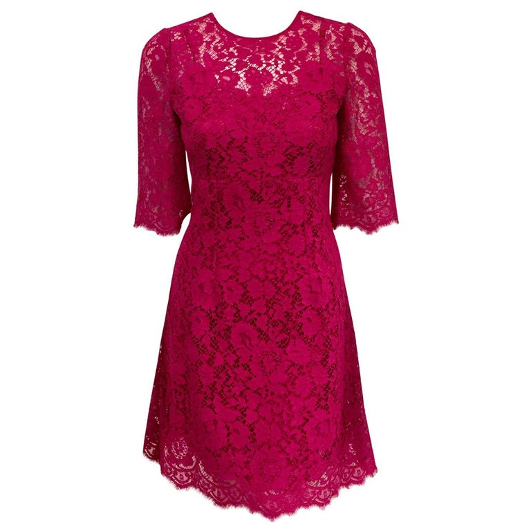 Dolce & Gabbana Rose Pink Lace Dress With Full Satin & Lace Slip 38 EU For Sale