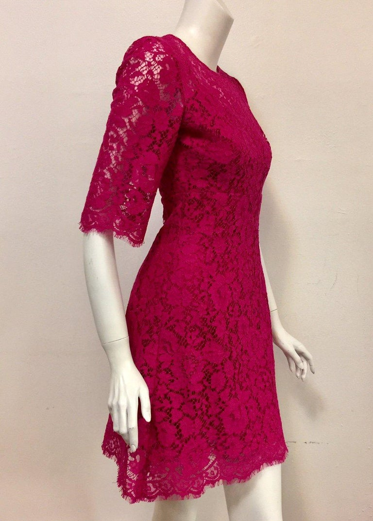 Dolce & Gabbana Rose Pink Lace Dress With Full Satin & Lace Slip 38 EU For Sale 1