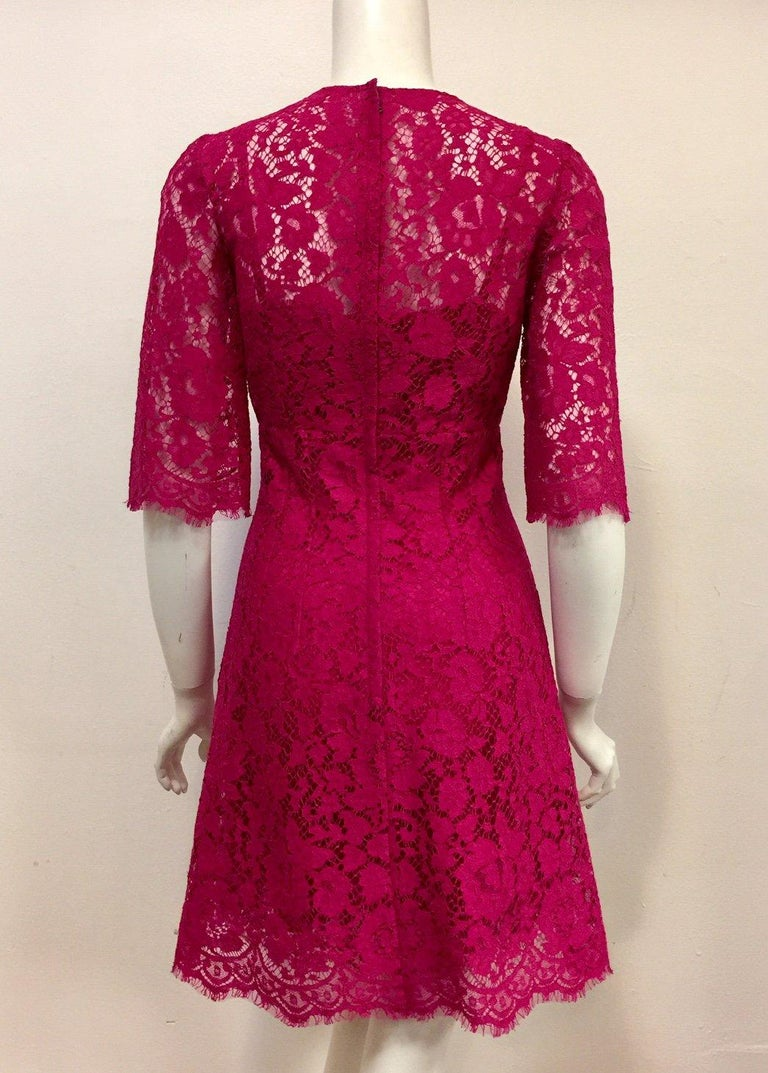 Dolce & Gabbana Rose Pink Lace Dress With Full Satin & Lace Slip 38 EU For Sale 2