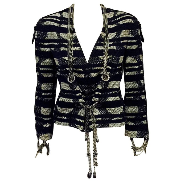 Chanel Spring Cotton Blend Geometric Print Jacket with Silver Tone Chains, 2008  For Sale