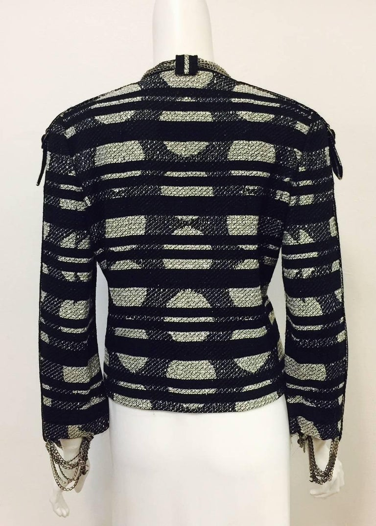 Black Chanel Spring Cotton Blend Geometric Print Jacket with Silver Tone Chains, 2008  For Sale