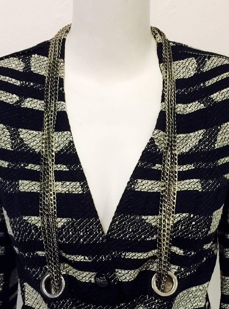 Women's Chanel Spring Cotton Blend Geometric Print Jacket with Silver Tone Chains, 2008  For Sale