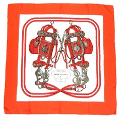 Hermes by Hugo Grygkar Red Silk Brides de Gala Scarf
