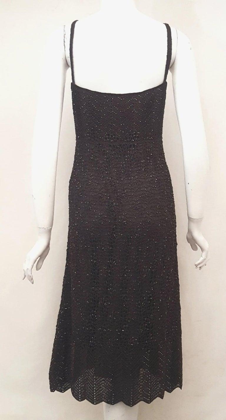 Black Carmen Marc Valvo Bottle Green Crochet Beaded Dress