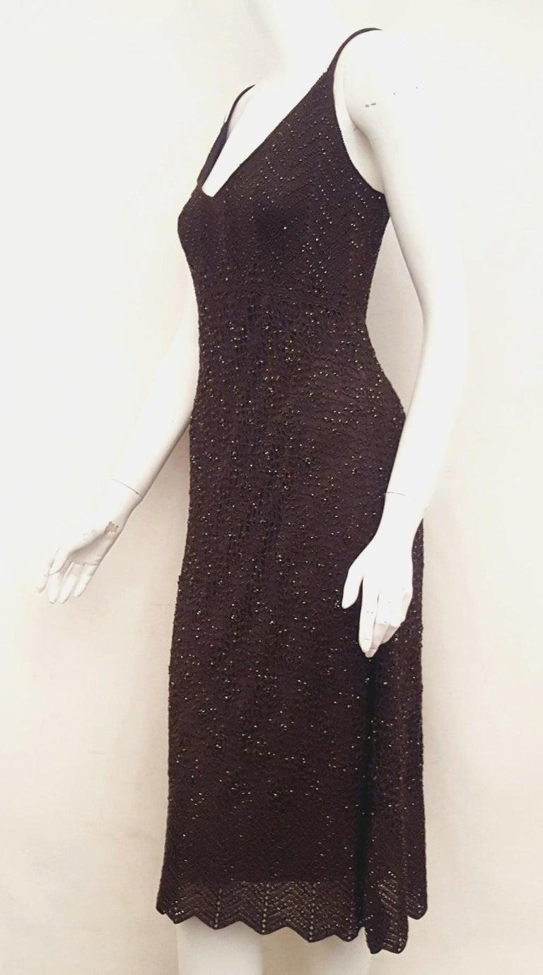 Carmen Marc Valvo Bottle Green Crochet Beaded Dress In Excellent Condition In Palm Beach, FL