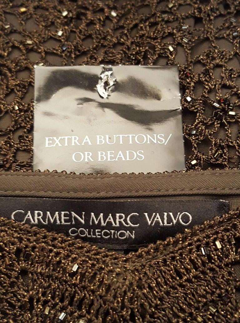 Carmen Marc Valvo Bottle Green Crochet Beaded Dress 1