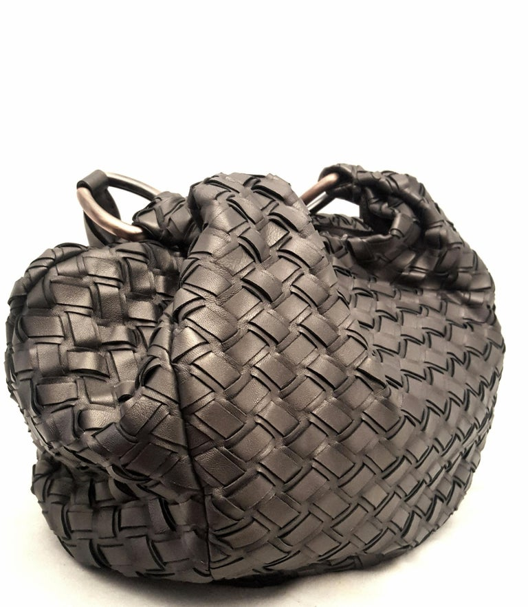 72c39d0c7f Miu Miu Bronze Metallic Woven Bag With Two Rolled Handles In Excellent  Condition For Sale In