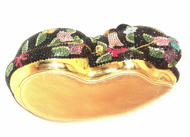 Women's Judith Leiber Sleeping Cat Jeweled Crystal Minaudière Clutch Bag For Sale