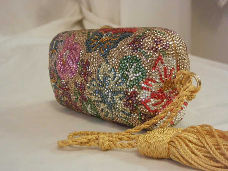 Judith Leiber Swarovski Crystal Floral Print Mini Minaudiere W/ Tassel Rope Bag In Excellent Condition For Sale In Palm Beach, FL